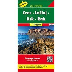 Cres-Lošinj-Krk-Rab, hajózási térkép információkkal, 1:100 000  Cres térkép Freytag térkép AK 0702