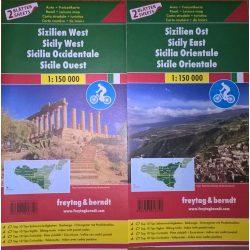 Szicília térkép, Szicília kelet és nyugat Szicília autós és kerékpáros térkép 1:150 000  Freytag  2016