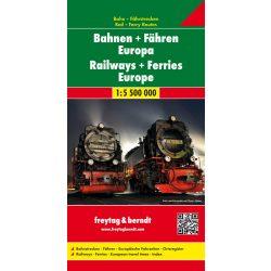 Európa térkép Európa vasúttérképe és úthálózata Freytag 1:5 500 000  2017  AK 2204