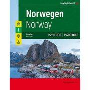Norvégia autóatlasz spirálkötéses, 1:250e, 1:400e Freytag Norvégia térkép 2020