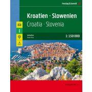 Horvátország - Szlovénia atlasz spirálkötésben, 1:150 000  Freytag  Horvátország autós atlasz 2020