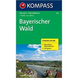 198. Bayerischer Wald turista térkép, 3teiliges Set mit Naturführer Kompass