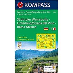 074. Südtiroler WeinstrKompasse-Unterland turista térkép Kompass 1:25 000