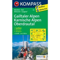60. Gailtaler Alpen, Karnische Alpen turista térkép, Oberdrautal turista térkép Kompass
