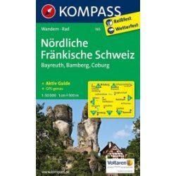 165. Nördliche Fränkische Schweiz, Bayreuth, Bamberg, Coburg turista térkép Kompass