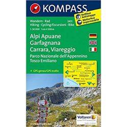 2451. Alpi Apuane, Garfagnana, Carrara, Viareggio, D/I turista térkép Kompass