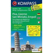 2457. Pisa, Livorno, San Miniato, Empoli, D/I turista térkép Kompass