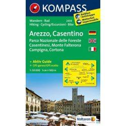 2459. Arezzo turista térkép, Casentino, D/I turista térkép Kompass