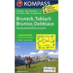 57. Bruneck, Toblach, Brunico, Dobbiaco turista térkép Kompass 1:50 000