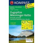 25. Zugspitze, Mieminger Kette turista térkép Kompass