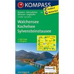 06. Walchensee térkép, Kochelsee, SylvensteinStausee, 1:25 000 turista térkép Kompass