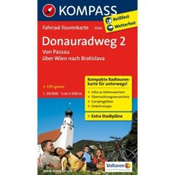 7004. Donauradweg kerékpáros térkép Kompass 1:50 000