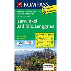 182. Isarwinkel, Bad Tölz, Lenggries turista térkép Kompass