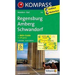 176. Regensburg, Amberg, Schwandorf turista térkép Kompass