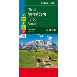 Ausztria 7 Tirol térkép,Tirol-Vorarlberg térkép, 1:200 000 Freytag OE 7