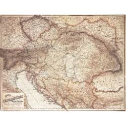 Osztrák–Magyar Monarchia 1890,  műanyaghengerben, 1:1 500 000, (87 x 67 cm)   Freytag térkép MON 6