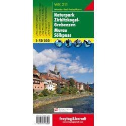 WK 211 Naturpark Zirbitzkogel, Grebenzen, Murau turista térkép, Mura turistatérkép 1:50 000 Mura térkép