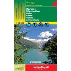 WK 152 Mayrhofen, Zillertaler Alpen, Gerlos, Krimml, Tuxertal, Zell i. Zillertal turistatérkép 1:50 000