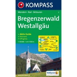 2. Bregenzerwald, Westallgäu turista térkép Kompass