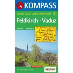 21. Feldkirch-Vaduz turista térkép Kompass 1:50 000