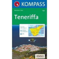 233. Tenerife térkép, Teneriffa turista térkép Kompass 1:50e