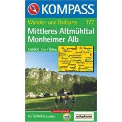 177. Altmühltal, Mittleres, Monheimer Alb turista térkép Kompass