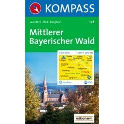 196. Bayerischer Wald, Mittlerer turista térkép Kompass