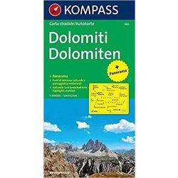 364. Dolomiten, Panorama mit Straßenkarte, 1:150 000 panoráma térkép