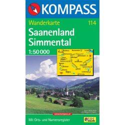 114. Saanenland Simmental turista térkép Kompass 1:50 000