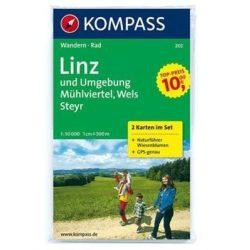 202. Linz turista térkép, Linz és környéke térkép Kompass 1:50 000