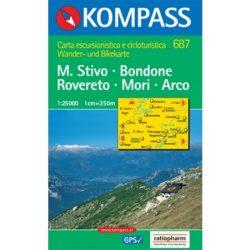 687. Monte Stivo, Monte Bondone, Rovereto, Mori, Arco, 1:25 000 turista térkép Kompass