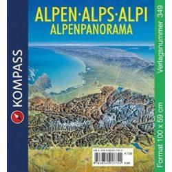 Alpok falitérkép panoráma Kompass 100 x 59 cm