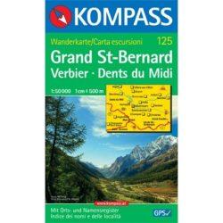 125. Grand St. Bernard/Großer St. Bernhard turista térkép Kompass
