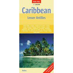 Karib-szigetek térkép Nelles Caribbean térkép Karib térkép, Kis-Antillák térkép - Caribbean : Lesser Antilles