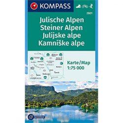 2801. Julische Alpen turista térkép Kompass 1:75 000  Júliai Alpok turista térkép, Kamniki Alpok térkép