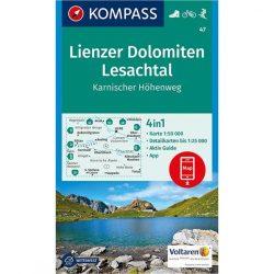 47. Lienzer Dolomiten, Lesachtal turistatérkép, Lienzer Dolomitok túratérkép szett 4 db-os Kompass Karnischer Höhenweg térkép