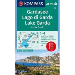 102. Garda tó turista térkép , Gardasee térkép/Lago di Garda, Monte Baldo térkép Kompass Lake Garda