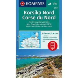 2250. Észak-Korzika turista térkép Kompass, Korsika Nord térkép szett, 3 részes 1:50e