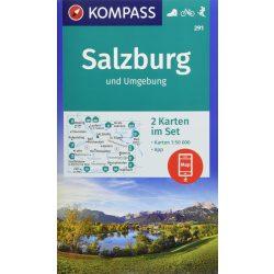 291. Salzburg, Rund um, 2teiliges Set mit Naturführer turista térkép Kompass