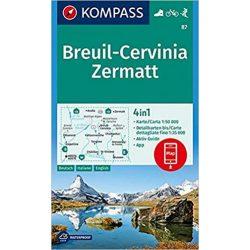 87. Breuil-Cervinia Zermatt turista térkép Kompass 1:50 000, Matterhorn turista térkép 4 az 1-ben