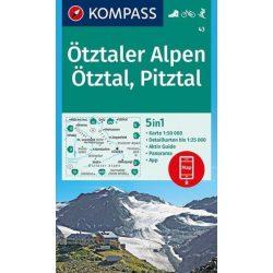 43. Ötztaler Alpen turista térkép Kompass 1:50 000