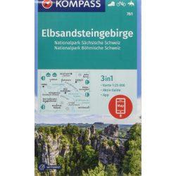 761. Szász-Svájc turista térkép, Böhmisch-Svájc, Elbsandsteingebirge turista térkép Kompass 1:25 000  2018