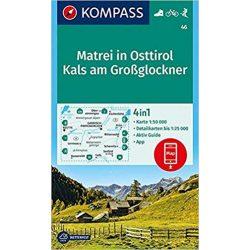 46. Matrei in Osttirol turista térkép Kompass 1:50 000  Matrei turista térkép 4 db-os térképszett