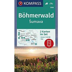 2000. Böhmerwald/Sumava turistatérkép, 2-részes Böhmerwald turista térkép Kompass 1:50 000