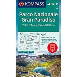 86. Gran Paradiso Nemzeti Park, Valle d'Aosta, Gran Paradiso turista térkép Kompass laminált 1:50e, 4 az 1-ben, 2020