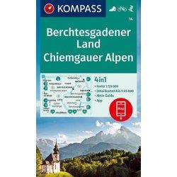 14. Berchtesgadener Land, Chiemgau Alpok turista térkép Kompass Berchtesgadener turista térkép 1:50e, 4 az 1-ben, 2020