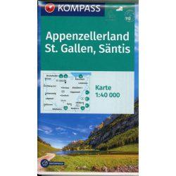 112. Appenzellerland turista térkép Kompass 1:40 000  2021