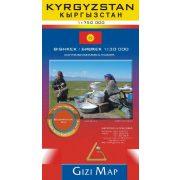 Kirgizisztán térkép KYRGYZSTAN térkép Geographical  Gizi Map 1:750 000