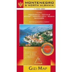 Montenegro térkép, North Albania térkép Gizi Map  1:200 000