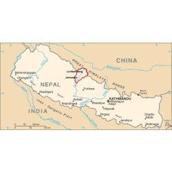 Mustán térkép Nepál Himalaya Montán  1:1 200 000